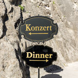 The difficult choice in Salzburg, the city of Mozart - to feed the body or senses. Salzburg, Stock Image