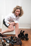 Difficult choice of shoes Stock Images