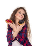 Difficult choice between two cakes Royalty Free Stock Photography