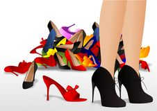 Difficult choice. Vector illustration of woman legs with shoes,after searching what to put on vector illustration