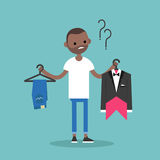 Difficult choice. Young black man trying to decide what to wear. For the event / Flat vector clip art illustration Royalty Free Stock Image
