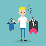 Difficult choice. Young blonde boy trying to decide what to wear. For the event / Flat vector clip art illustration stock illustration