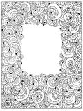 Difficult Circle Uncolored Adult Coloring book page. Abstract uncolored frame vector. Can be used as adult coloring book, coloring page, card, illustration Stock Images