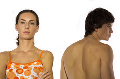 A difficult conversation, row. Of a girl and a young athlete with a naked torso closeup on a white background Stock Photos