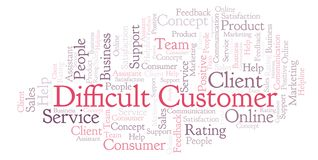 Difficult Customer word cloud. royalty free illustration