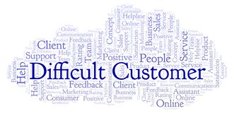 Difficult Customer word cloud. Made with text only royalty free illustration