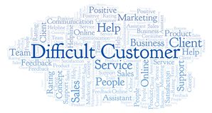 Difficult Customer word cloud. stock illustration