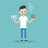 Difficult decision. Yes or no. Conceptual illustration. Young bearded man tries to choose the right answer. Editable flat vector clip art Royalty Free Stock Photography