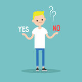 Difficult decision: Yes or no. Conceptual illustration. Young bl. Ond boy tries to choose the right answer. Editable flat vector clip art Stock Photos