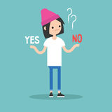 Difficult decision. Yes or no. Conceptual illustration. Young girl tries to choose the right answer. Editable flat  clip art Stock Photography