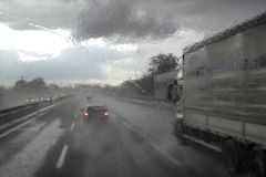 Bad weather on the highway Royalty Free Stock Photo
