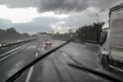 Bad weather on the highway. Difficult driving with high risk of road accidents due to bad weather on the highway in Italy stock images