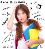 Difficult exam of geometry Stock Photography