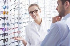 Difficult glasses choice Stock Photos
