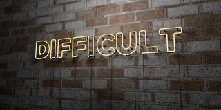 DIFFICULT - Glowing Neon Sign on stonework wall - 3D rendered royalty free stock illustration. Can be used for online banner ads and direct mailers Royalty Free Stock Photography