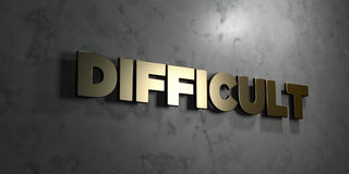 Difficult - Gold sign mounted on glossy marble wall  - 3D rendered royalty free stock illustration. This image can be used for an online website banner ad or a Stock Photography