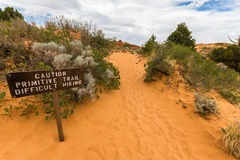 Difficult hiking in desert of Arches National Park Royalty Free Stock Images