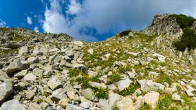 Difficult hiking trail going uphill through the rocks, Pirin mountains, Bulgaria. Difficult hiking trail going uphill through the rocks on steep mountain slope Stock Photo