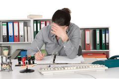 Difficult job. Business woman has a difficult job royalty free stock photos