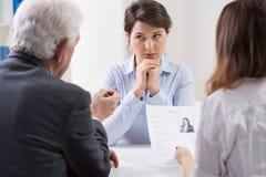 Difficult job interview Stock Photos