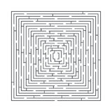 Difficult and long maze educational game in the form of a square Stock Photo