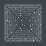 Difficult and long maze educational game in the form of a square. White on gray Stock Image