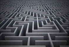 Difficult maze. Difficult dark grey maze puzzle Stock Photography