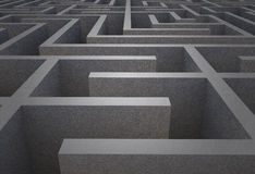Difficult maze. Difficult dark grey maze puzzle Stock Images