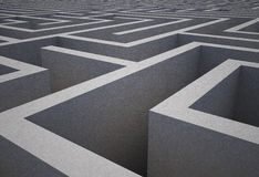 Difficult maze. Difficult dark grey maze puzzle Royalty Free Stock Photo