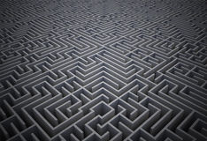 Difficult maze puzzle. Difficult dark grey maze puzzle Royalty Free Stock Photography