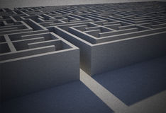 Difficult maze puzzle. Entrance to difficult maze puzzle Stock Photo