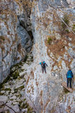Difficult mountain trail with cable Royalty Free Stock Photography