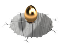 Difficult Prize. An Egg(the prize) being suspended in the middle of a pit making it difficult to cash-in Royalty Free Stock Image