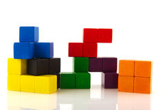Difficult puzzle. Colorful difficult puzzle in blocks isolated over white Stock Images