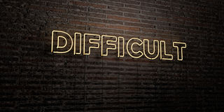 DIFFICULT -Realistic Neon Sign on Brick Wall background - 3D rendered royalty free stock image. Can be used for online banner ads and direct mailers Royalty Free Stock Photo