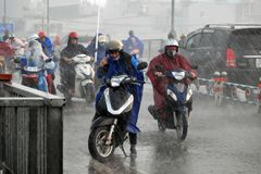 Difficult ride motorcycle in storm Stock Photography