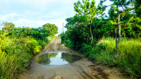 Difficult road in Mozambique Royalty Free Stock Image