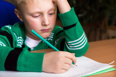 Difficult school homework Royalty Free Stock Image