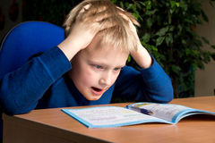 Difficult school homework Stock Image