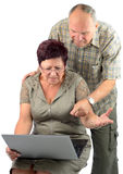 Difficult technology for pensioner Royalty Free Stock Images