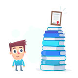 It is difficult to get a diploma. Cartoon conceptual illustration of funny character Stock Image