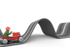 Difficult way . 3D Rendering. Child drives a toy car on a winding road. Difficult way concept. 3D Rendering Stock Photography