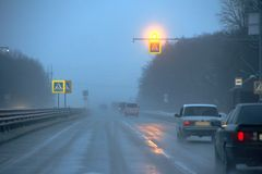Difficult weather conditions on the road Stock Photo
