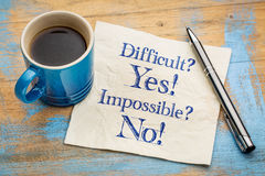 Difficult? Yes! Impossible? No! Royalty Free Stock Photography