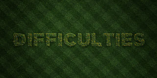 DIFFICULTIES - fresh Grass letters with flowers and dandelions - 3D rendered royalty free stock image Stock Photography