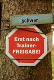 Difficulty levels in german. Sign in germany saying difficulty parcours can only be used after trainer clearing Stock Photos