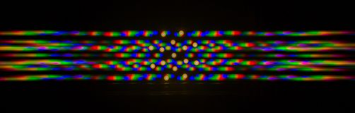Diffraction of light from the LED lamp on the grating Stock Photo