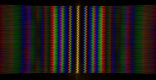 Diffraction of light from the LED lamp on the grating Stock Photos