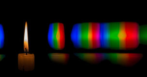 Diffraction pattern of candle flame light Stock Images