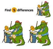 Différences de découverte, jeu pour des enfants (crocodile et tambour) Image libre de droits